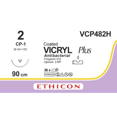 Ethicon Vicryl 2 CP-1 VCP482H 90 cm, 36 stk