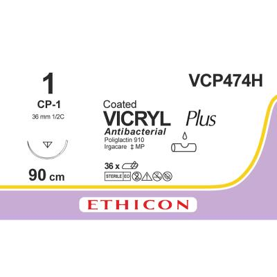 Ethicon Vicryl 1 CP-1 VCP474H 90 cm, 36 stk