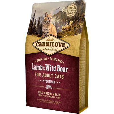 Carnilove Lamb og Wild Boar for Adult Cats – Sterilised 2 kg
